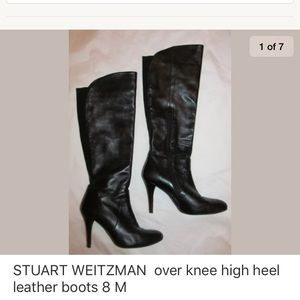 STUART WEITZMAN over knee high heel leather boots